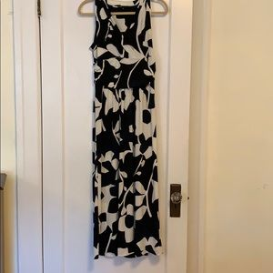 B&W with hints of Navy Floral Dress. SzM